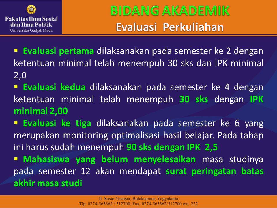  Evaluasi pertama dilaksanakan pada semester ke 2 dengan ketentuan minimal telah menempuh 30 sks dan IPK minimal 2,0  Evaluasi kedua dilaksanakan pa