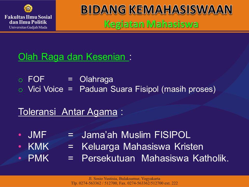 Olah Raga dan Kesenian : o FOF = Olahraga o Vici Voice= Paduan Suara Fisipol (masih proses) Toleransi Antar Agama : JMF = Jama'ah Muslim FISIPOL KMK =