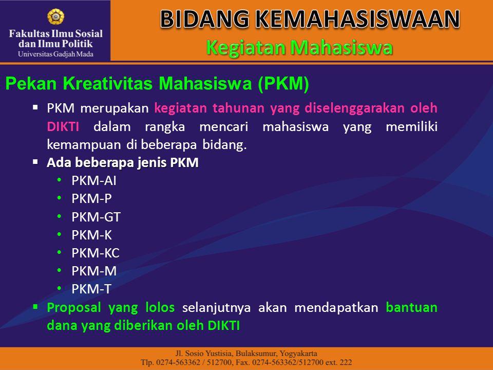 Pekan Kreativitas Mahasiswa (PKM)  PKM merupakan kegiatan tahunan yang diselenggarakan oleh DIKTI dalam rangka mencari mahasiswa yang memiliki kemampuan di beberapa bidang.