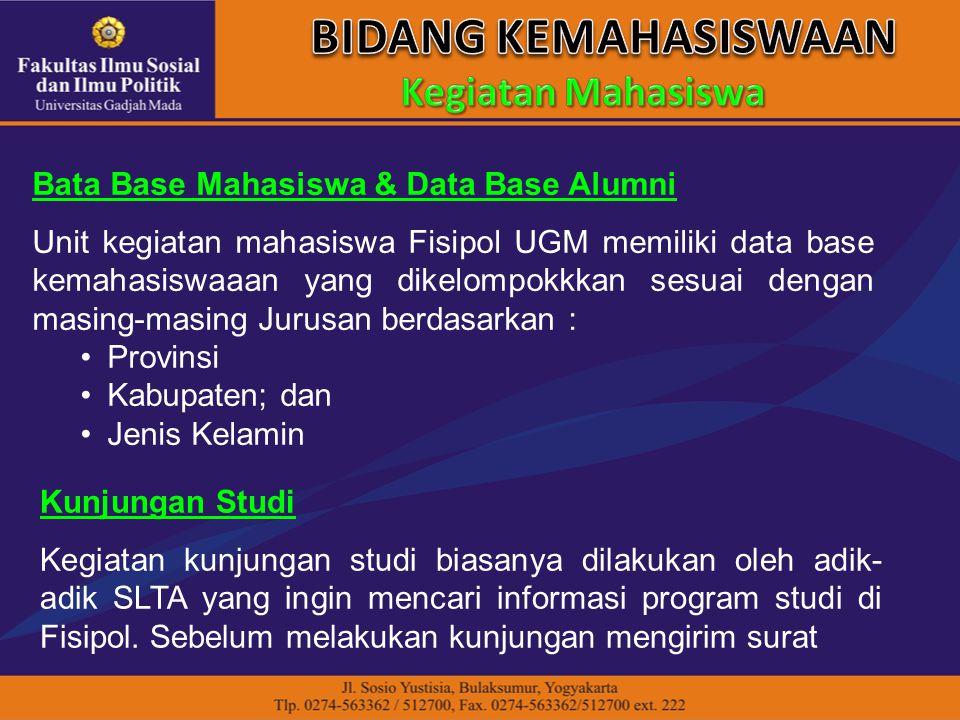 Bata Base Mahasiswa & Data Base Alumni Unit kegiatan mahasiswa Fisipol UGM memiliki data base kemahasiswaaan yang dikelompokkkan sesuai dengan masing-
