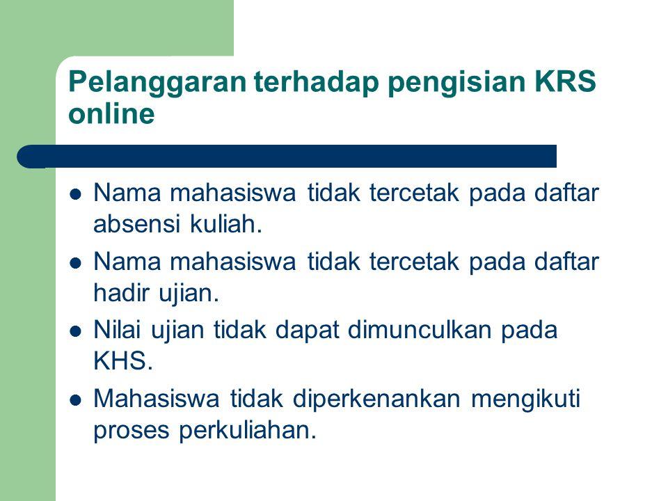 Pelanggaran terhadap pengisian KRS online Nama mahasiswa tidak tercetak pada daftar absensi kuliah. Nama mahasiswa tidak tercetak pada daftar hadir uj