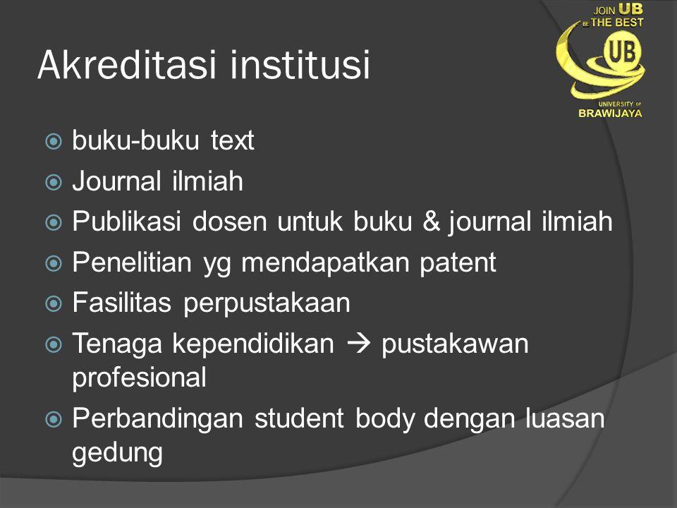 Akreditasi institusi  buku-buku text  Journal ilmiah  Publikasi dosen untuk buku & journal ilmiah  Penelitian yg mendapatkan patent  Fasilitas pe