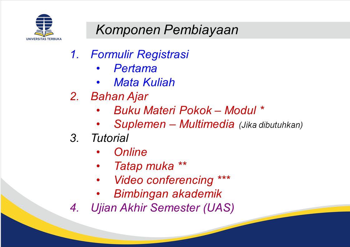Komponen Pembiayaan 1.Formulir Registrasi Pertama Mata Kuliah 2.Bahan Ajar Buku Materi Pokok – Modul * Suplemen – Multimedia (Jika dibutuhkan) 3.Tutor