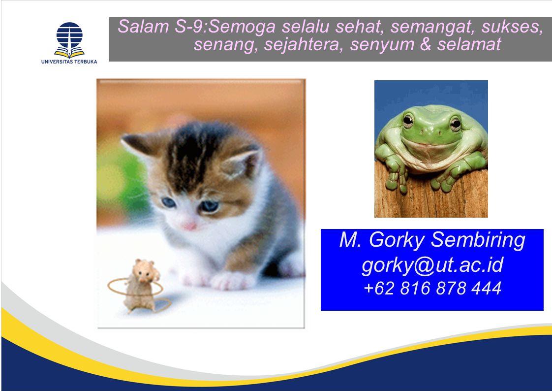 Salam S-9:Semoga selalu sehat, semangat, sukses, senang, sejahtera, senyum & selamat M. Gorky Sembiring gorky@ut.ac.id +62 816 878 444