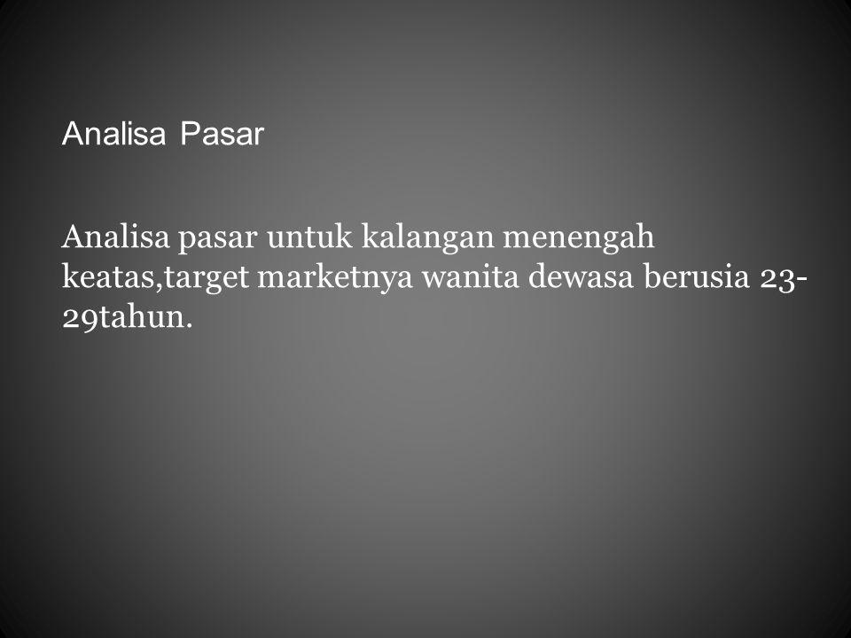 Analisa Pasar Analisa pasar untuk kalangan menengah keatas,target marketnya wanita dewasa berusia 23- 29tahun.