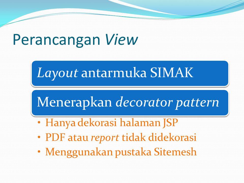 Perancangan View Layout antarmuka SIMAKMenerapkan decorator pattern Hanya dekorasi halaman JSP PDF atau report tidak didekorasi Menggunakan pustaka Sitemesh