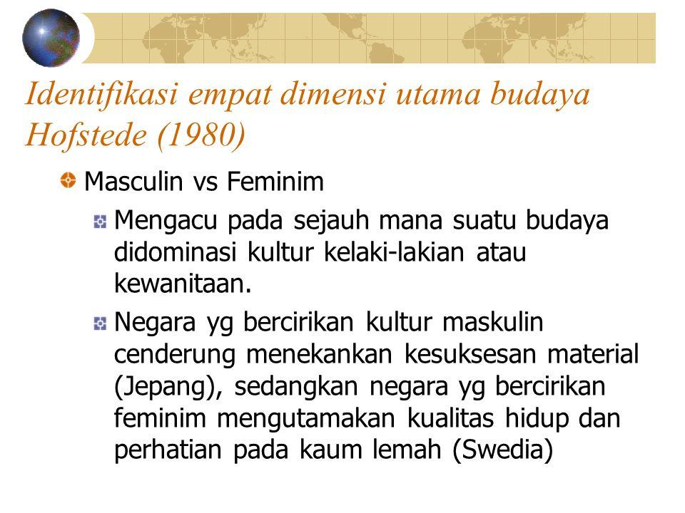 Identifikasi empat dimensi utama budaya Hofstede (1980) Masculin vs Feminim Mengacu pada sejauh mana suatu budaya didominasi kultur kelaki-lakian atau kewanitaan.