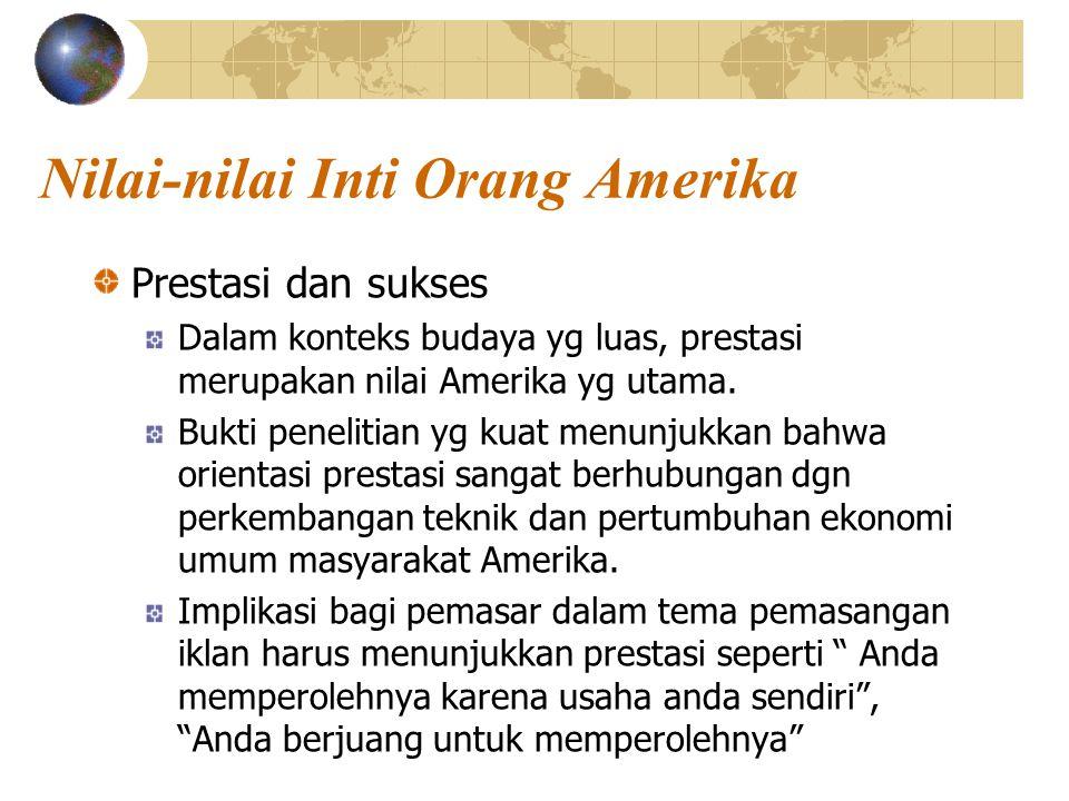 Nilai-nilai Inti Orang Amerika Prestasi dan sukses Dalam konteks budaya yg luas, prestasi merupakan nilai Amerika yg utama.