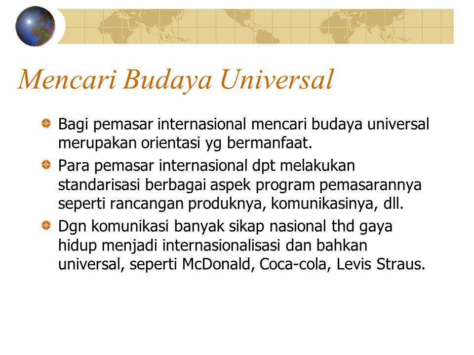 Mencari Budaya Universal Bagi pemasar internasional mencari budaya universal merupakan orientasi yg bermanfaat. Para pemasar internasional dpt melakuk