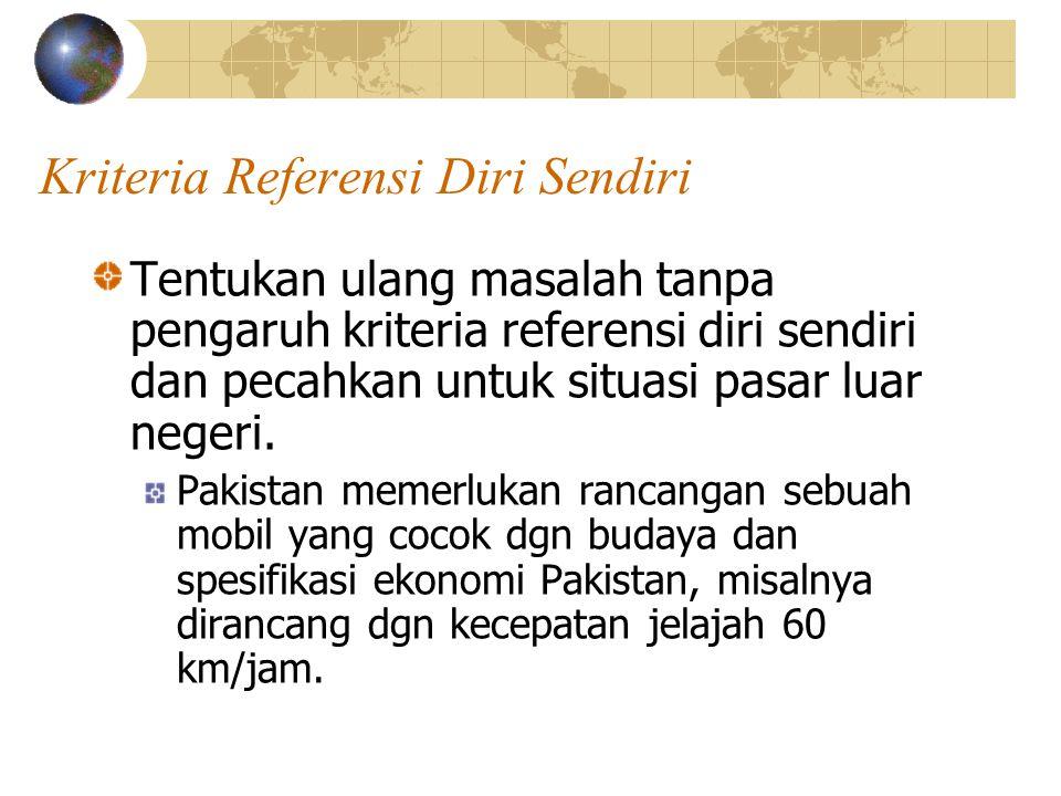 Kriteria Referensi Diri Sendiri Tentukan ulang masalah tanpa pengaruh kriteria referensi diri sendiri dan pecahkan untuk situasi pasar luar negeri. Pa