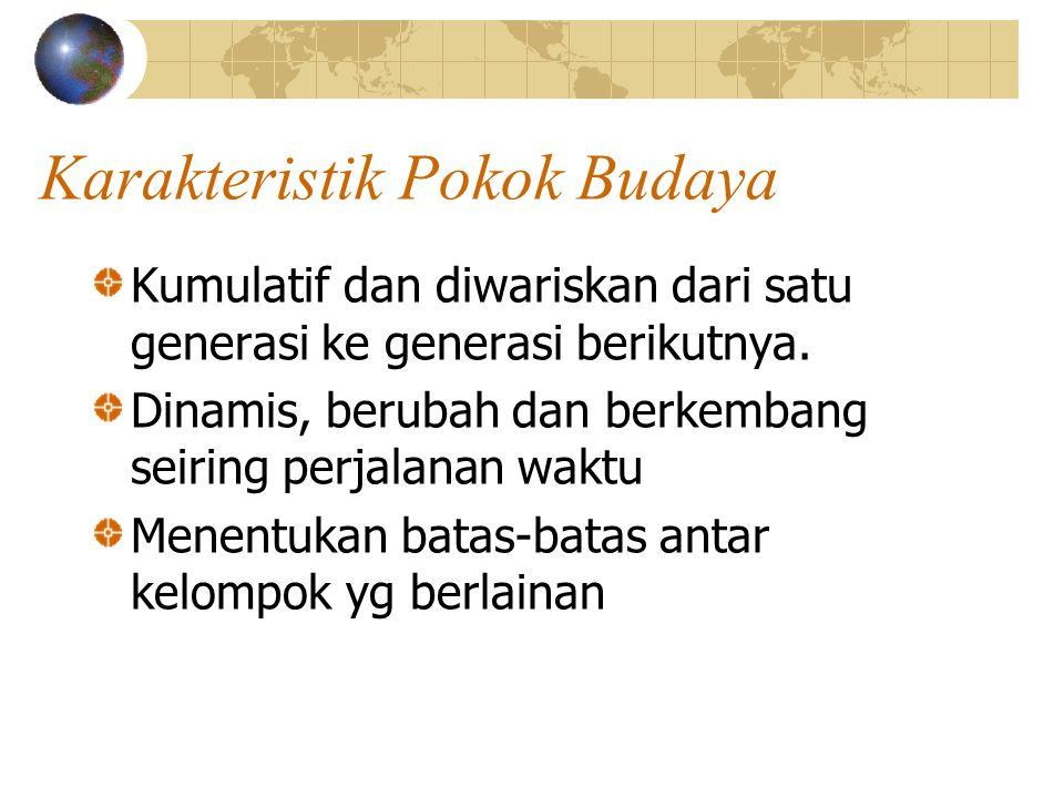 Karakteristik Pokok Budaya Kumulatif dan diwariskan dari satu generasi ke generasi berikutnya.