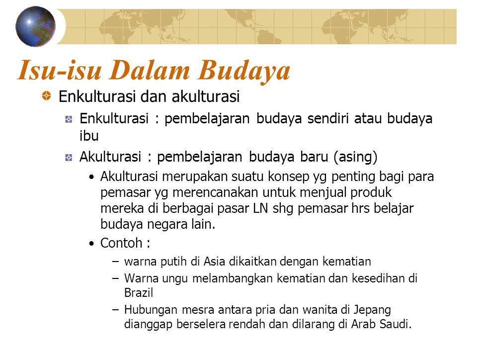 Isu-isu Dalam Budaya Enkulturasi dan akulturasi Enkulturasi : pembelajaran budaya sendiri atau budaya ibu Akulturasi : pembelajaran budaya baru (asing