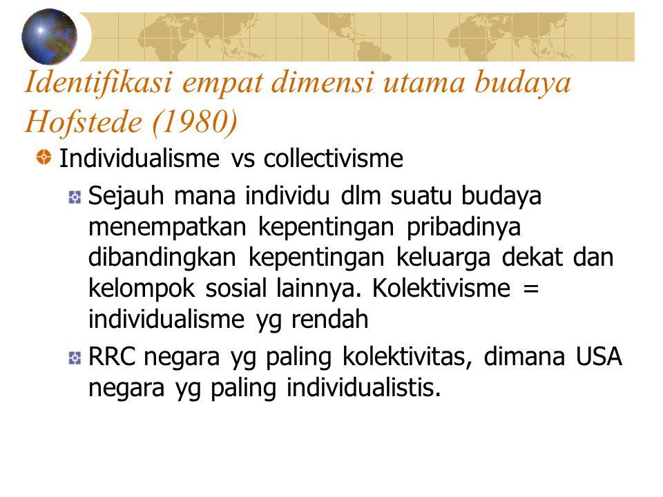 Identifikasi empat dimensi utama budaya Hofstede (1980) Individualisme vs collectivisme Sejauh mana individu dlm suatu budaya menempatkan kepentingan pribadinya dibandingkan kepentingan keluarga dekat dan kelompok sosial lainnya.
