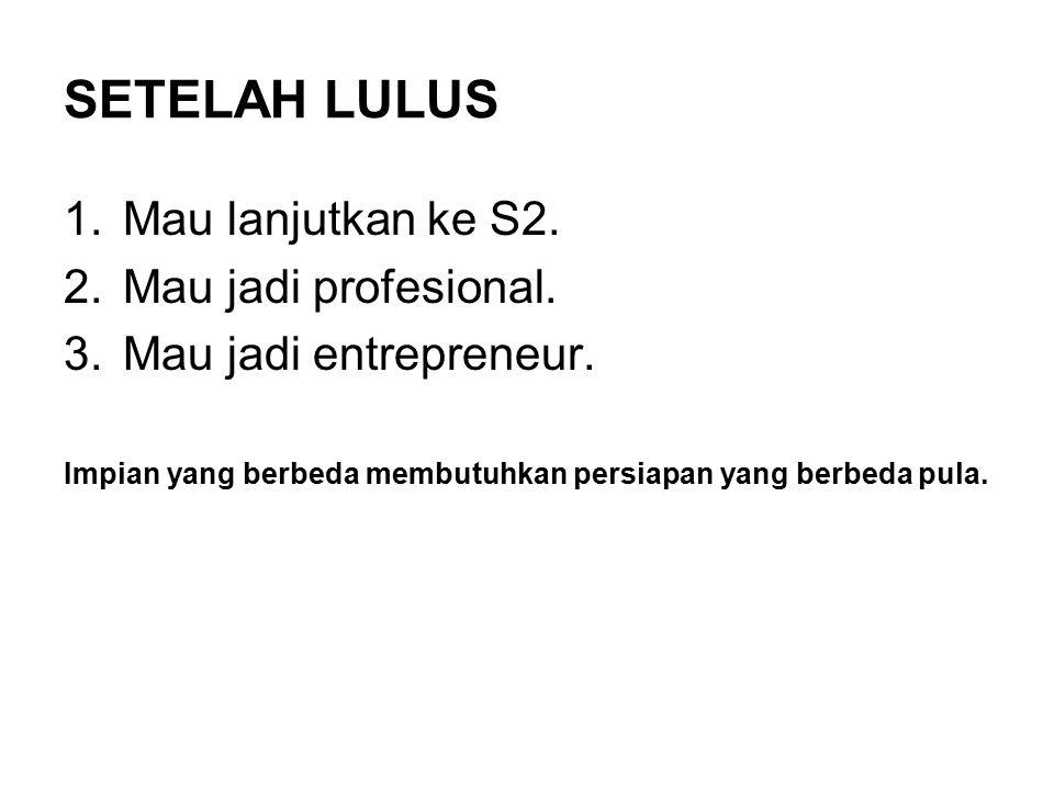 SETELAH LULUS 1.Mau lanjutkan ke S2. 2.Mau jadi profesional.