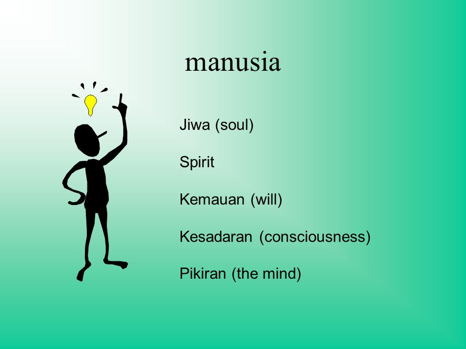 manusia Jiwa (soul) Spirit Kemauan (will) Kesadaran (consciousness) Pikiran (the mind)