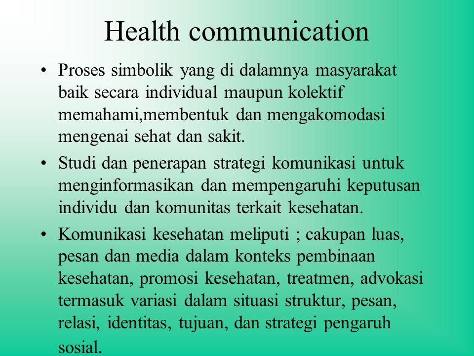 Health communication Proses simbolik yang di dalamnya masyarakat baik secara individual maupun kolektif memahami,membentuk dan mengakomodasi mengenai sehat dan sakit.