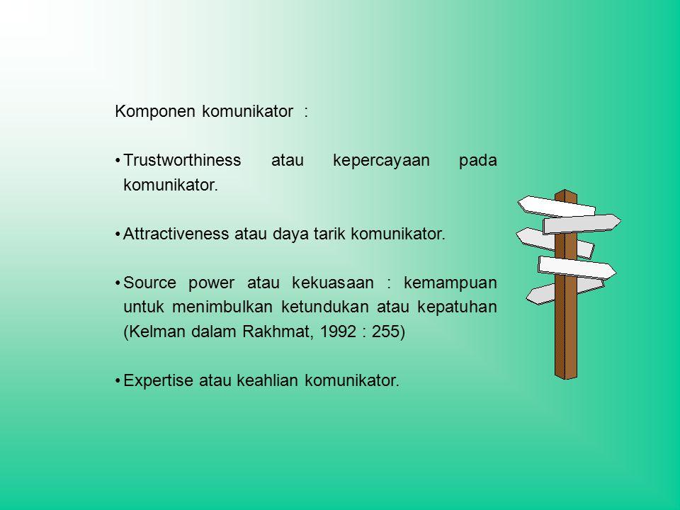 Komponen komunikator : Trustworthiness atau kepercayaan pada komunikator.