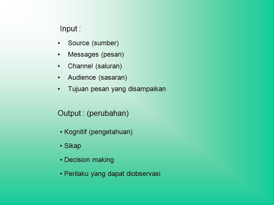 Input : Source (sumber) Messages (pesan) Channel (saluran) Audience (sasaran) Tujuan pesan yang disampaikan Output : (perubahan) Kognitif (pengetahuan) Sikap Decision making Perilaku yang dapat diobservasi