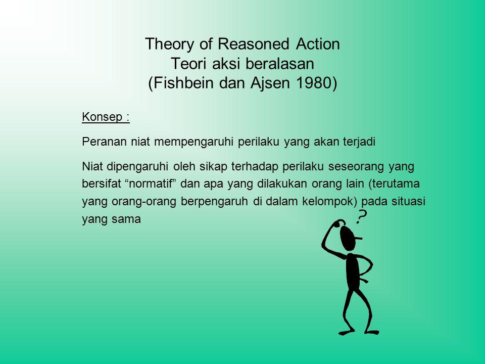 Theory of Reasoned Action Teori aksi beralasan (Fishbein dan Ajsen 1980) Konsep : Peranan niat mempengaruhi perilaku yang akan terjadi Niat dipengaruhi oleh sikap terhadap perilaku seseorang yang bersifat normatif dan apa yang dilakukan orang lain (terutama yang orang-orang berpengaruh di dalam kelompok) pada situasi yang sama