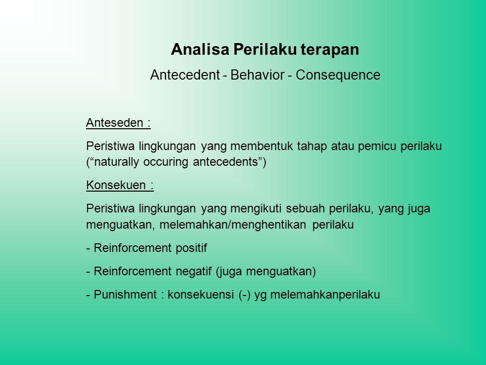 Analisa Perilaku terapan Antecedent - Behavior - Consequence Anteseden : Peristiwa lingkungan yang membentuk tahap atau pemicu perilaku ( naturally occuring antecedents ) Konsekuen : Peristiwa lingkungan yang mengikuti sebuah perilaku, yang juga menguatkan, melemahkan/menghentikan perilaku - Reinforcement positif - Reinforcement negatif (juga menguatkan) - Punishment : konsekuensi (-) yg melemahkanperilaku