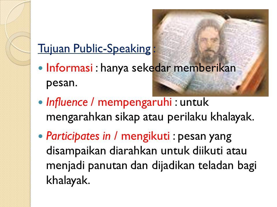Pelaku Public-Speaking : Orator : ahli pidato. Presenter : Penyaji Program, konotasinya berkaitan dengan media massa elektronik. Motivator / Instructu