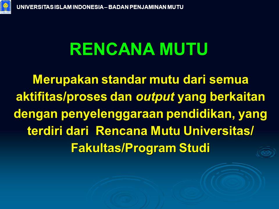 RENCANA MUTU Merupakan standar mutu dari semua aktifitas/proses dan output yang berkaitan dengan penyelenggaraan pendidikan, yang terdiri dari Rencana