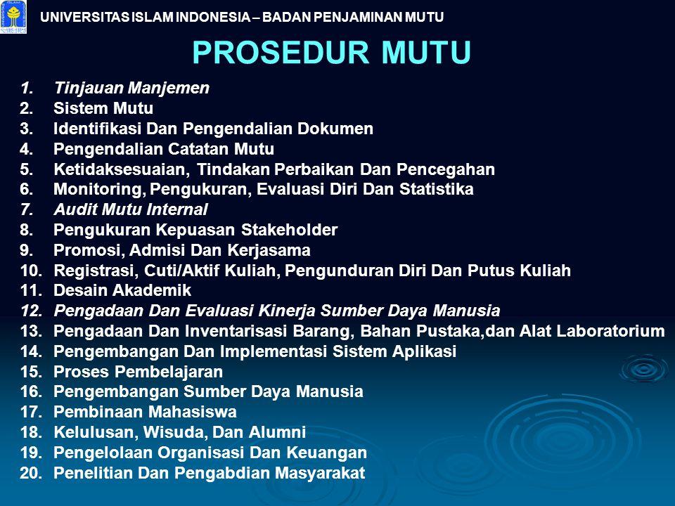 PROSEDUR MUTU 1.Tinjauan Manjemen 2.Sistem Mutu 3.Identifikasi Dan Pengendalian Dokumen 4.Pengendalian Catatan Mutu 5.Ketidaksesuaian, Tindakan Perbai