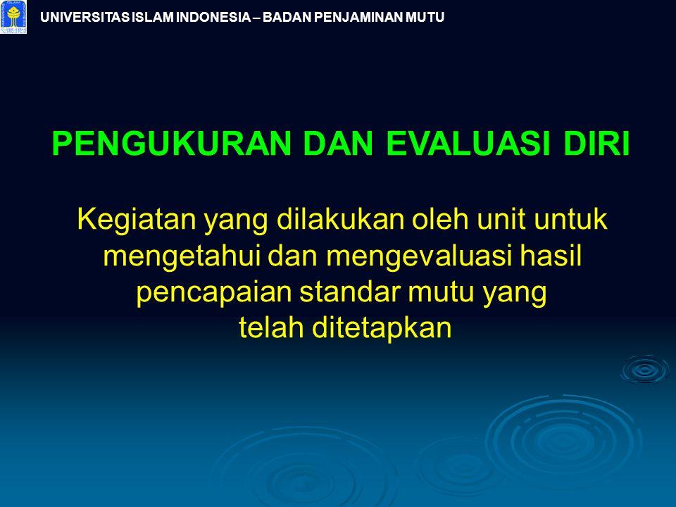 UNIVERSITAS ISLAM INDONESIA – BADAN PENJAMINAN MUTU PENGUKURAN DAN EVALUASI DIRI Kegiatan yang dilakukan oleh unit untuk mengetahui dan mengevaluasi h