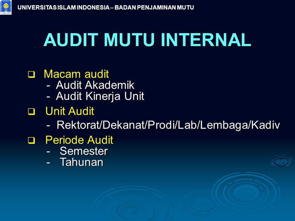 UNIVERSITAS ISLAM INDONESIA – BADAN PENJAMINAN MUTU AUDIT MUTU INTERNAL  Macam audit - Audit Akademik - Audit Akademik - Audit Kinerja Unit - Audit K