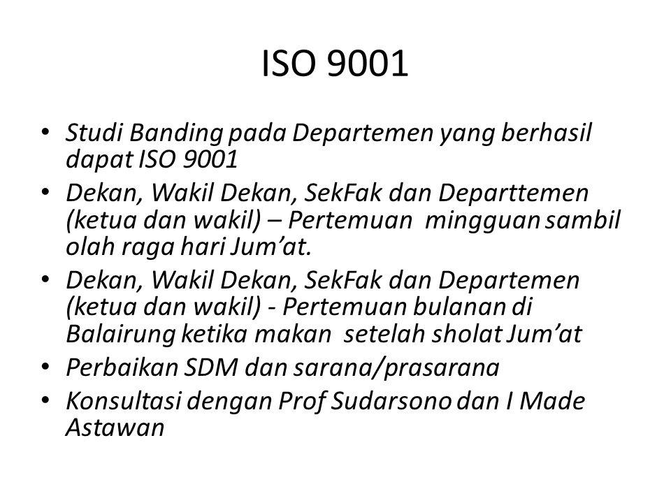 ISO 9001 Studi Banding pada Departemen yang berhasil dapat ISO 9001 Dekan, Wakil Dekan, SekFak dan Departtemen (ketua dan wakil) – Pertemuan mingguan