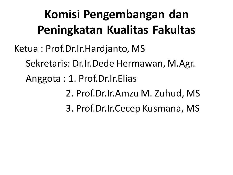 Komisi Pengembangan dan Peningkatan Kualitas Fakultas Ketua : Prof.Dr.Ir.Hardjanto, MS Sekretaris: Dr.Ir.Dede Hermawan, M.Agr. Anggota : 1. Prof.Dr.Ir