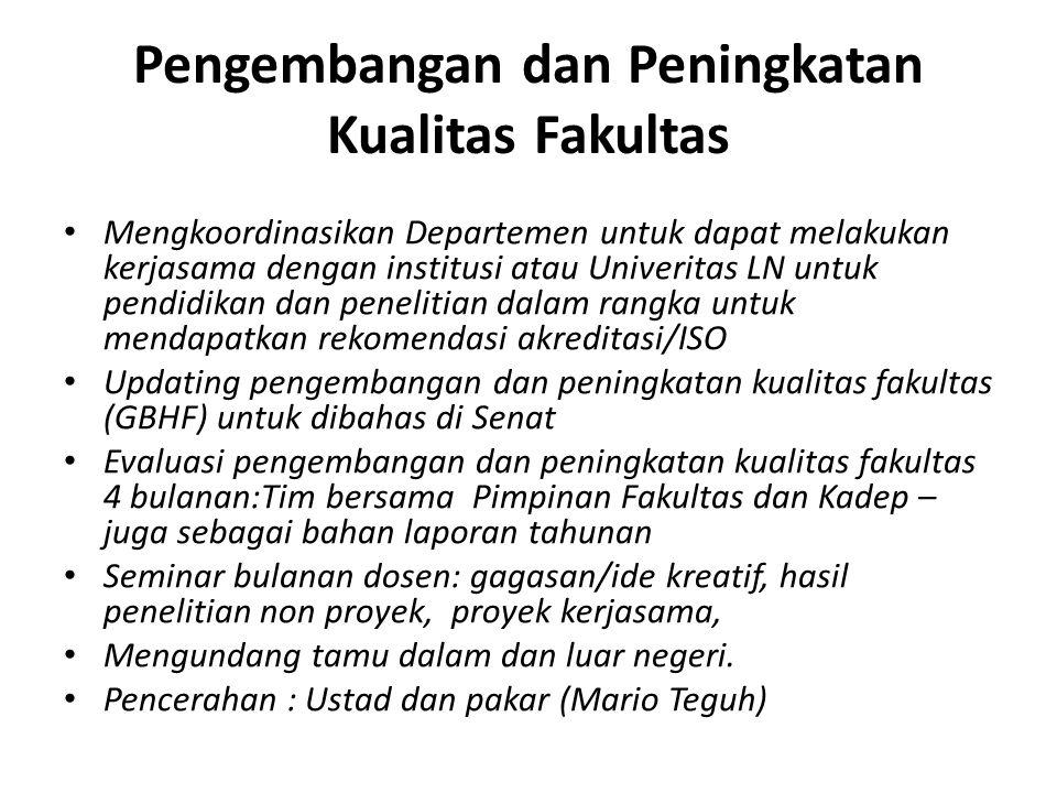 Pengembangan dan Peningkatan Kualitas Fakultas Mengkoordinasikan Departemen untuk dapat melakukan kerjasama dengan institusi atau Univeritas LN untuk