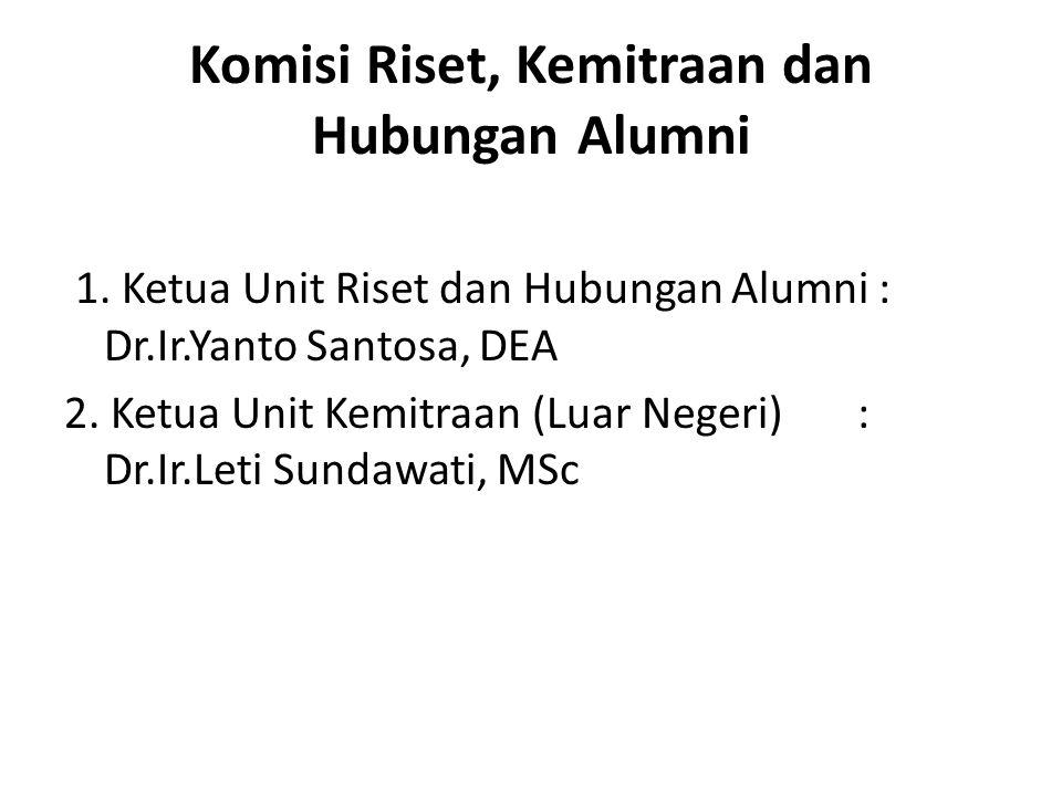 Komisi Riset, Kemitraan dan Hubungan Alumni 1. Ketua Unit Riset dan Hubungan Alumni : Dr.Ir.Yanto Santosa, DEA 2. Ketua Unit Kemitraan (Luar Negeri) :