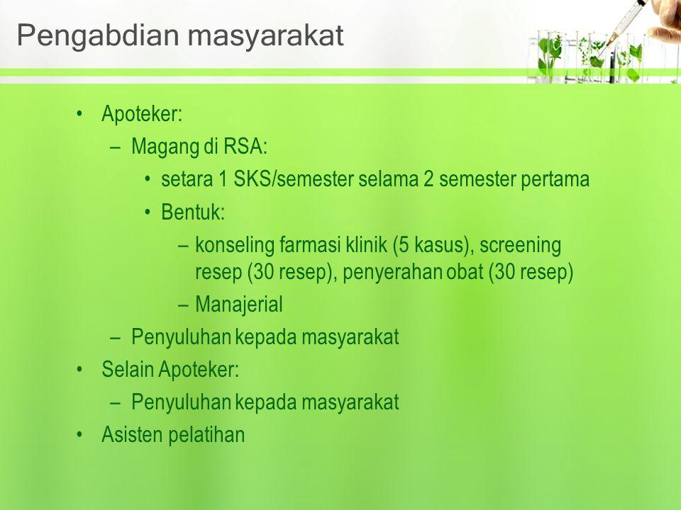 Pengabdian masyarakat Apoteker: –Magang di RSA: setara 1 SKS/semester selama 2 semester pertama Bentuk: –konseling farmasi klinik (5 kasus), screening