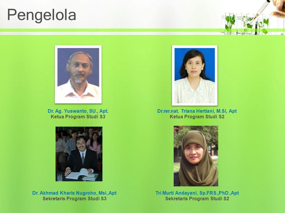 Pengelola Dr. Ag. Yuswanto, SU., Apt. Ketua Program Studi S3 Dr.rer.nat. Triana Hertiani, M.Si, Apt Ketua Program Studi S2 Dr. Akhmad Kharis Nugroho,
