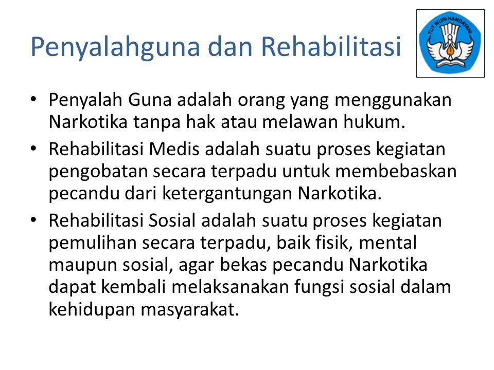 Penyalahguna dan Rehabilitasi Penyalah Guna adalah orang yang menggunakan Narkotika tanpa hak atau melawan hukum. Rehabilitasi Medis adalah suatu pros