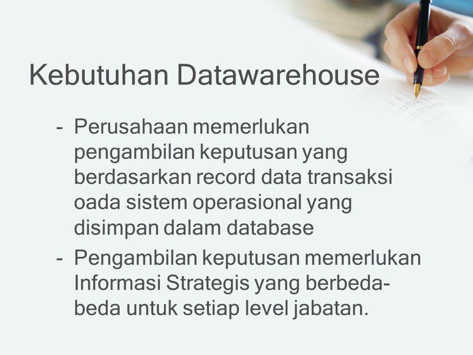 Kebutuhan Datawarehouse -Perusahaan memerlukan pengambilan keputusan yang berdasarkan record data transaksi oada sistem operasional yang disimpan dalam database -Pengambilan keputusan memerlukan Informasi Strategis yang berbeda- beda untuk setiap level jabatan.