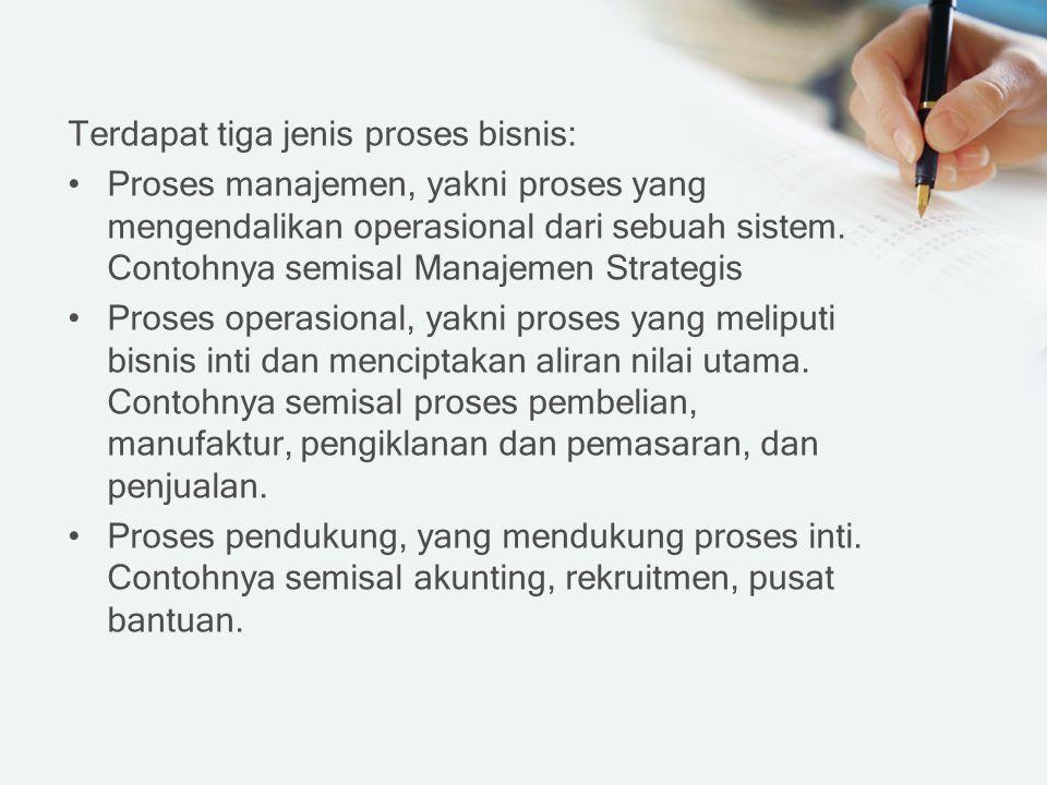 Terdapat tiga jenis proses bisnis: Proses manajemen, yakni proses yang mengendalikan operasional dari sebuah sistem.