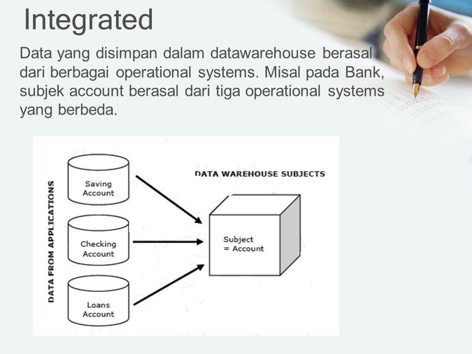 Integrated Data yang disimpan dalam datawarehouse berasal dari berbagai operational systems.