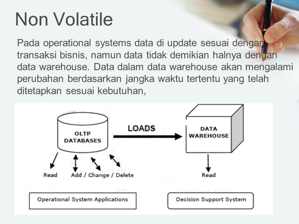Non Volatile Pada operational systems data di update sesuai dengan transaksi bisnis, namun data tidak demikian halnya dengan data warehouse.