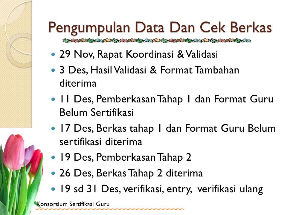 Konsorsium Sertifikasi Guru Pengumpulan Data Dan Cek Berkas 29 Nov, Rapat Koordinasi & Validasi 3 Des, Hasil Validasi & Format Tambahan diterima 11 De