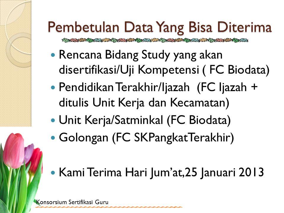 Konsorsium Sertifikasi Guru Pembetulan Data Yang Bisa Diterima Rencana Bidang Study yang akan disertifikasi/Uji Kompetensi ( FC Biodata) Pendidikan Te