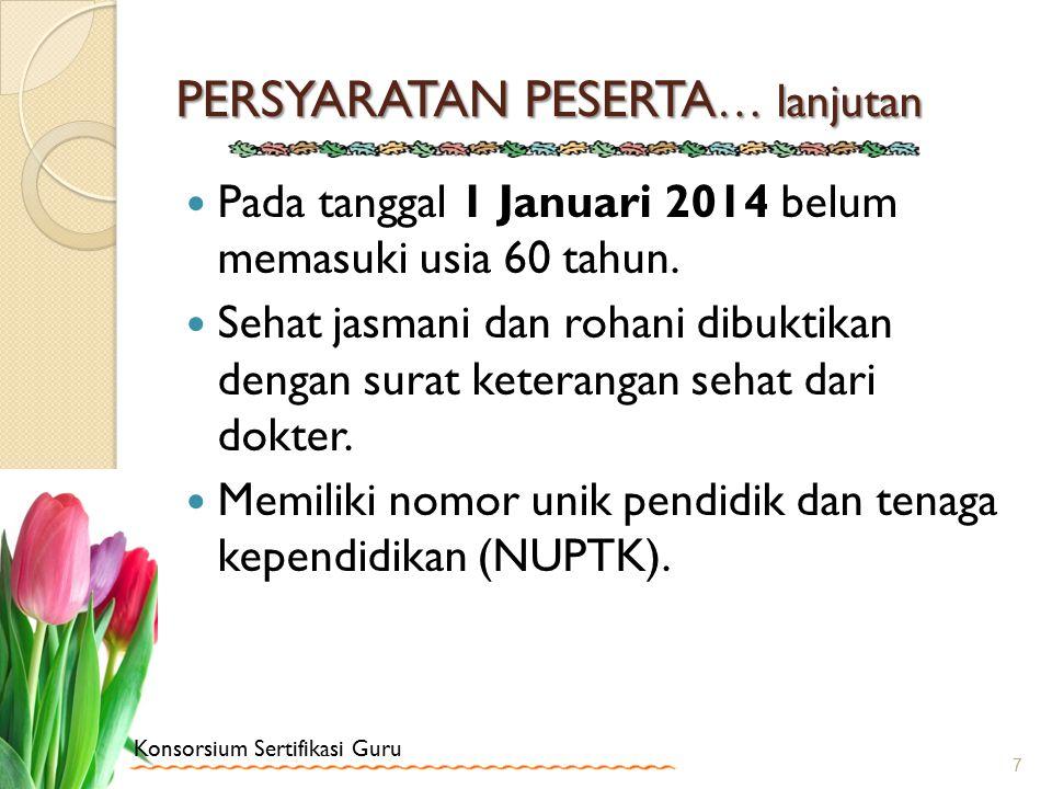 Konsorsium Sertifikasi Guru PERSYARATAN PESERTA … lanjutan Pada tanggal 1 Januari 2014 belum memasuki usia 60 tahun. Sehat jasmani dan rohani dibuktik