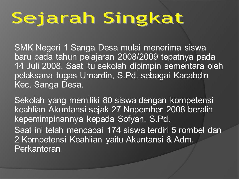 SMK Negeri 1 Sanga Desa mulai menerima siswa baru pada tahun pelajaran 2008/2009 tepatnya pada 14 Juli 2008. Saat itu sekolah dipimpin sementara oleh