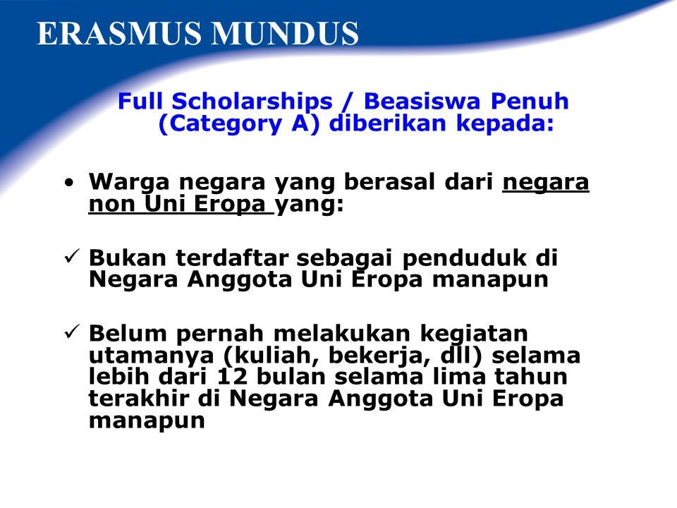 EMJD - Erasmus Mundus Joint Doctorate ? Program Doctorate (S3) - 3 tahun Penyelenggara: Konsorsium Universitas2 di Eropa,minimum 3 universitas dari 3