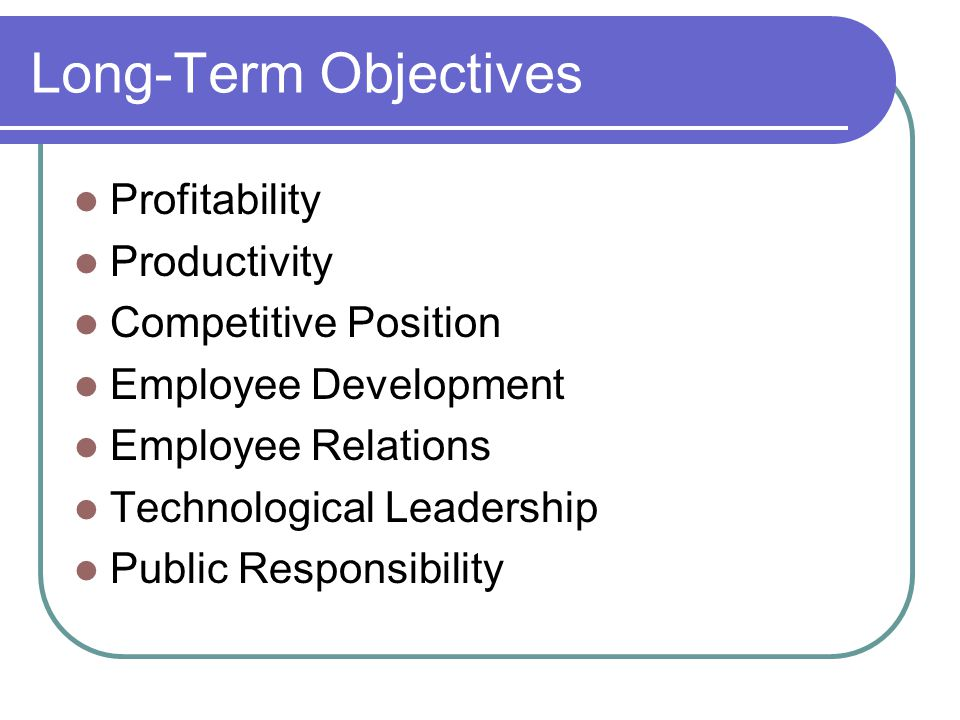 Long-Term Objectives Profitability Productivity Competitive Position Employee Development Employee Relations Technological Leadership Public Responsib
