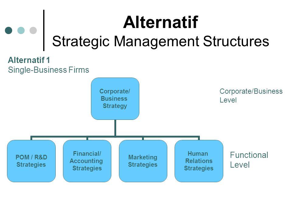 Alternatif 2 Multiple-Business Firms Corporate level Business Level Functional Level Corporate/ Business Strategy Business 2 Business 1 Human Relations Strategies Marketing Strategies Financial/ Accounting Strategies POM / R&D Strategies