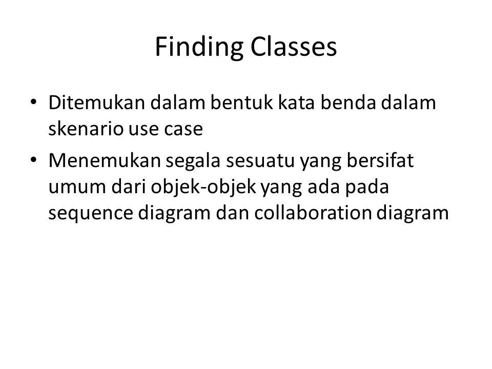 Finding Classes Ditemukan dalam bentuk kata benda dalam skenario use case Menemukan segala sesuatu yang bersifat umum dari objek-objek yang ada pada s