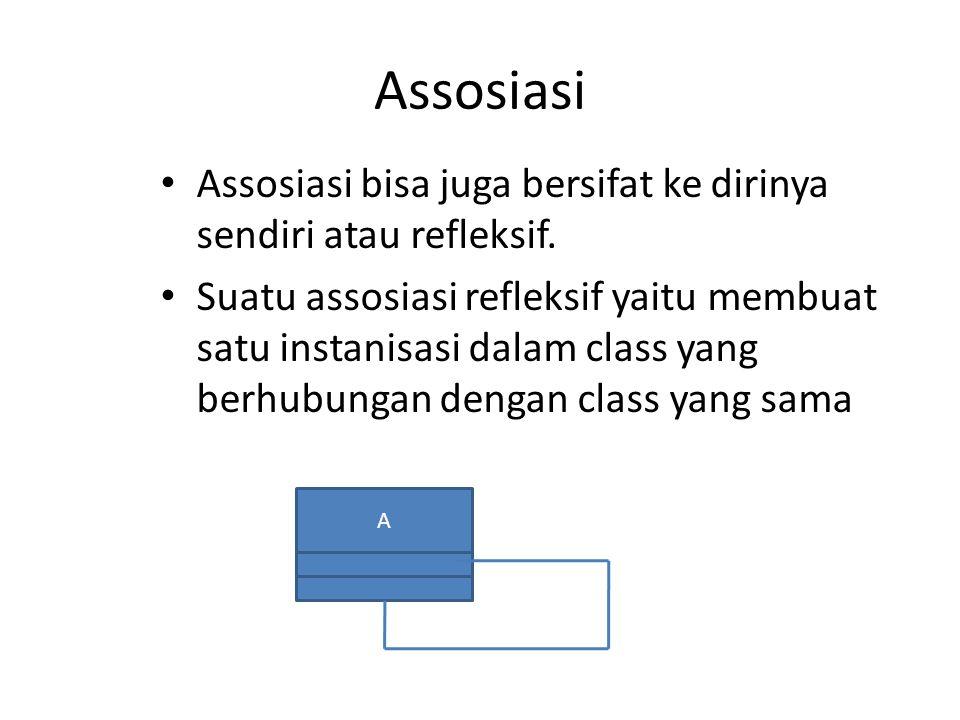 Assosiasi Assosiasi bisa juga bersifat ke dirinya sendiri atau refleksif. Suatu assosiasi refleksif yaitu membuat satu instanisasi dalam class yang be