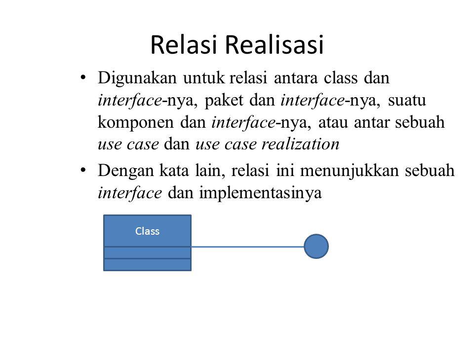 Relasi Realisasi Digunakan untuk relasi antara class dan interface-nya, paket dan interface-nya, suatu komponen dan interface-nya, atau antar sebuah u
